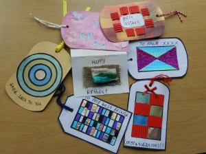 A selection of coloured gift tags