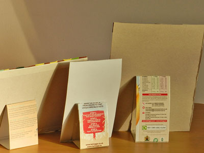 Templates on the back of the frames made from recycled cereal packets